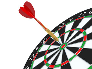 Red Darts arrow in bullseye.
