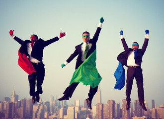 Superhero Businessmen New York Flying Concept