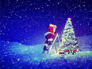 Santa with Lamp on a Step-Ladder by the Christmas Tree