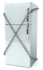 Refrigerator entangled by chains. Diet concept