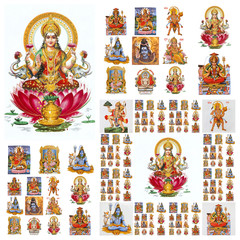 hindu gods collage ( Lakshmi, Krishna,Hanuman,Shiva, etc. )