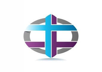 cross religious leaf life logo Vector