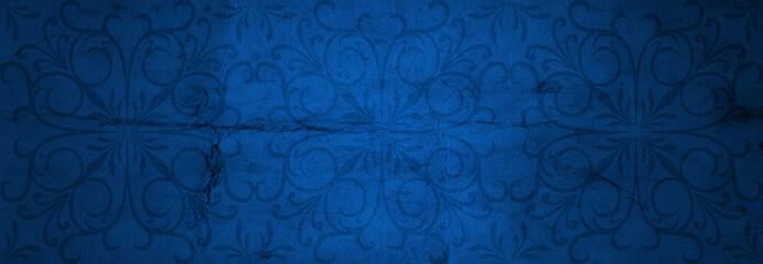 Blue old vintage Christmas paper banner