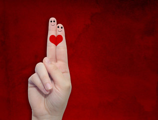 Conceptual fingers in love background