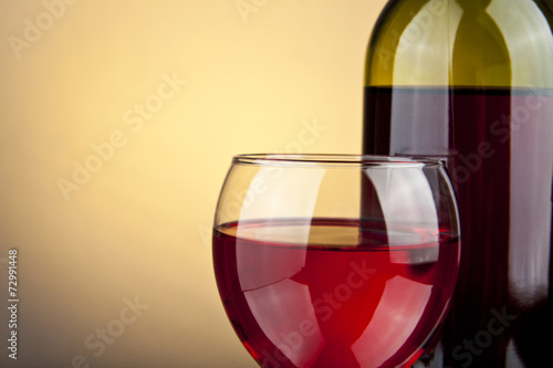 canvas print picture glass of wine and bottle
