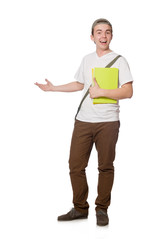 Young student isolated on the white