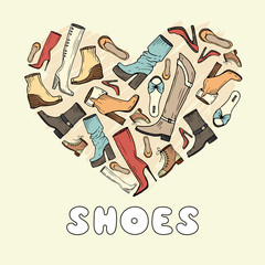 Stylized heart with hand drawn shoes for women