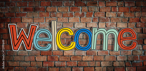 Fotobehang Wand Welcome Word and Brick Wall in Background