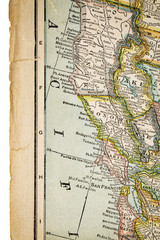 north California on vintage map