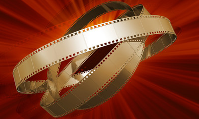 Golden films on red background