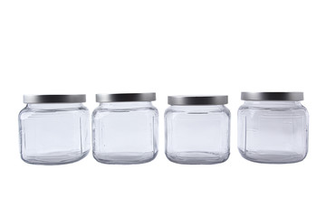Set of empty glass jars