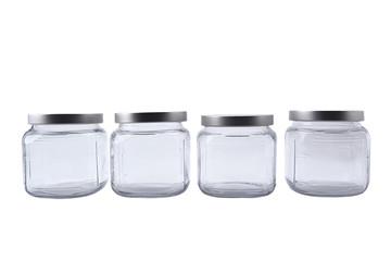 Set of empty glass jars