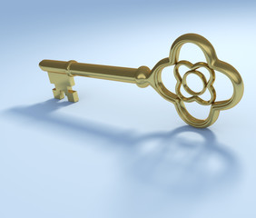 Golden vintage key with smooth shadow