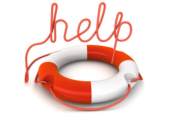 "ring buoy with rope as the word ""help"""