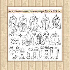 Vector set of hand drawn outerwear, shoes and headgear