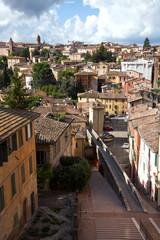 Panoramic view on Acquedotto Street in Perugia, Umbria, Italy
