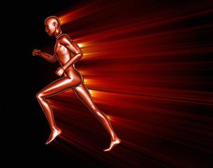 Running 3D man passing through an obstacle