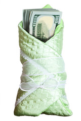 Stack of dollars in a baby blanket