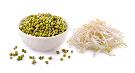 Bean Sprouts and mung beans on White Background