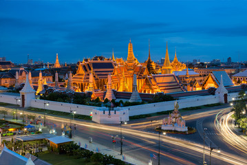 Temple of the Emerald Buddha at dusk