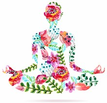 Pose de yoga, aquarelle lumineuse illustration florale