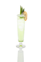 green banana cocktail in highball glass