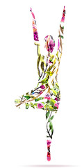 Yoga pose, watercolor bright floral illustration