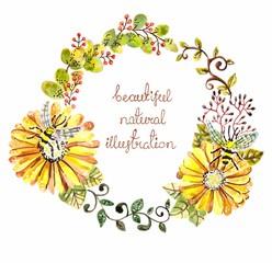 Watercolor floral frame for wedding invitation design