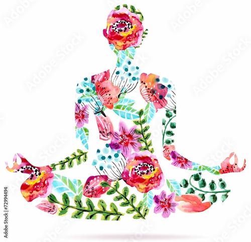 Yoga pose, watercolor bright floral illustration - 72994494