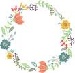 Color floral frame for wedding invitation design