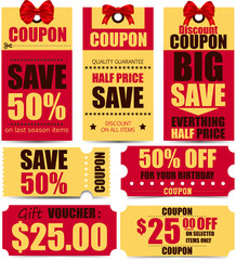 Sale tags and coupons