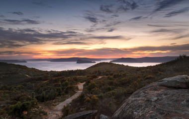 Box Head views to Broken Bay and Pittwater after sunset