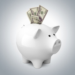 Piggy bank with dollar banknotes