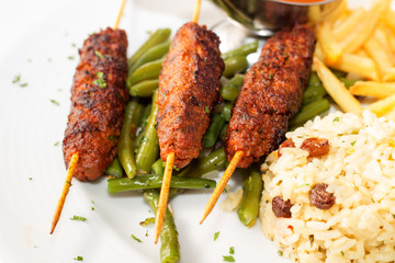 Skewers of meat.