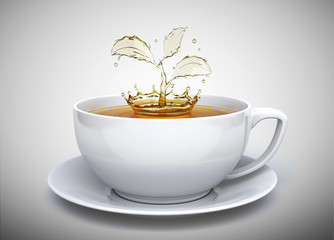 Splash of the tea in form of a plant in white cup