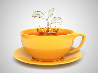 Splash of the tea in form of a plant in cup