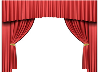 Theater curtain isolated on white