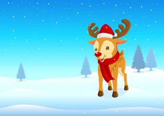 Cartoon illustration of a cute reindeer on snowy hills