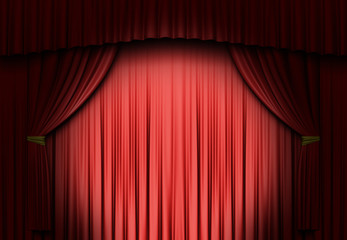 A spot light on a red curtain
