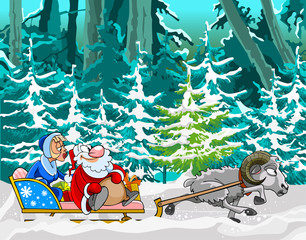 cartoon sheep driven in a sleigh of Santa Claus and Snow Maiden