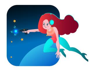 retro space girl vector cartoon illustration