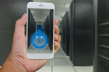 Smart phone remote command to data center