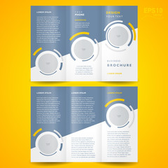 brochure design template trifold vector geometric abstract circl