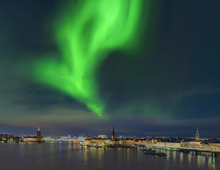 Stockholm mit Nordlicht