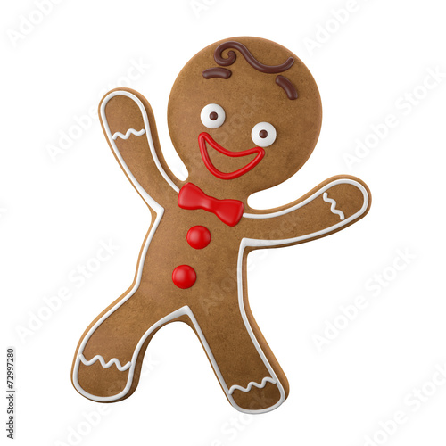 Tuinposter Koekjes 3d character, cheerful gingerbread, Christmas funny decoration