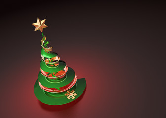 Christmas tree in spot light on red background