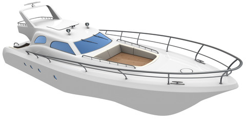 White yacht  isolated on white