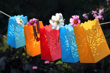 Garden party, celebration, paper lanterns