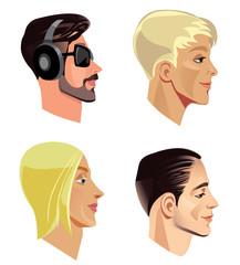 men's heads in profile