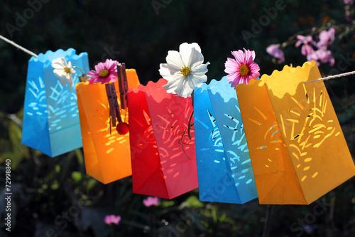 Garden party, celebration, paper lanterns
